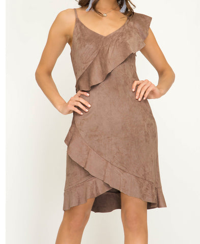 Light Mocha Faux Suede Dress