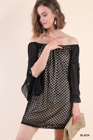 Off Shoulder Ruffle Sleeve Dress