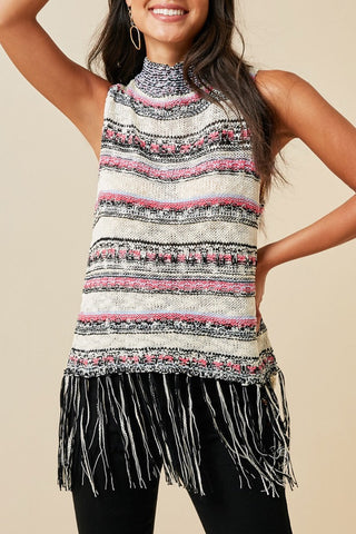 Cream Sleeveless Multi Stripe Fringe Sweater