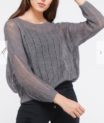 Jessi Charcoal Sweater Top