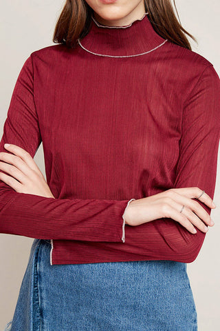 Wine Fitted Long Sleeve Turtleneck