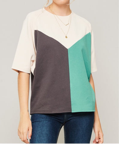 Short Sleeve Colorblock Sweatshirt