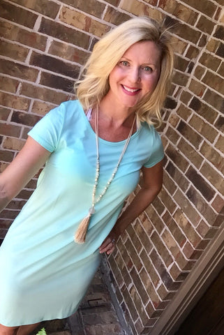 Mint Short Sleeve Basic Knit Dress