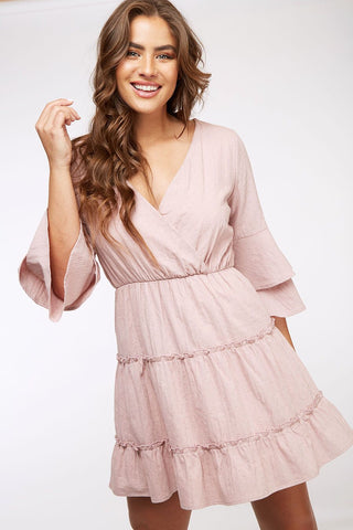 Dusty Mauve V-Neck Dress