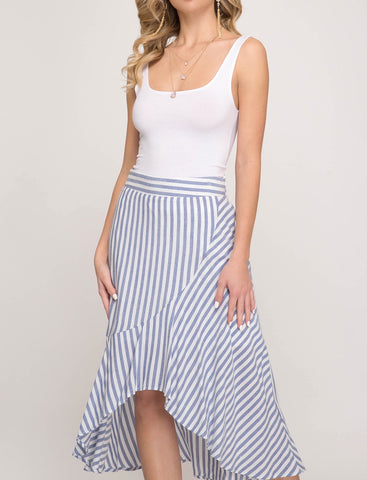 Navy Striped High Low Woven Skirt