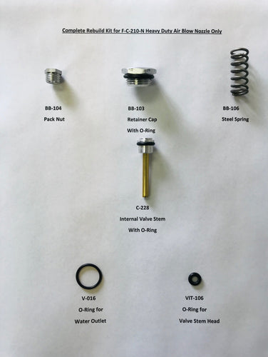 An image of the parts included in this air blow nozzle rebuild kit