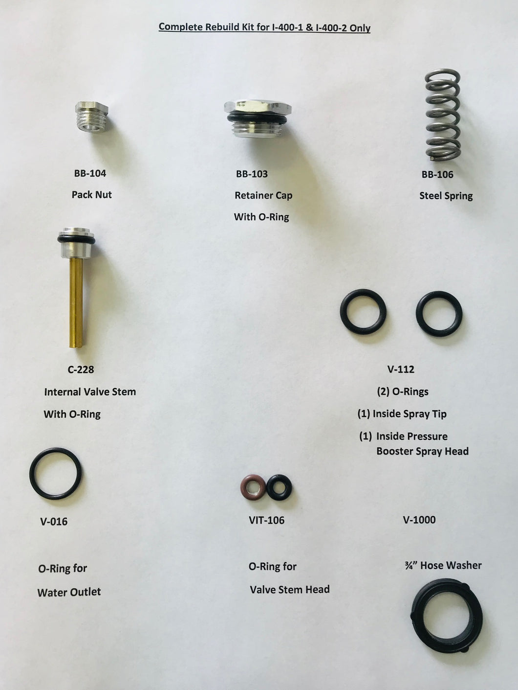 An image of the different components included in this pressure wash system rebuild kit from Tri-Con.
