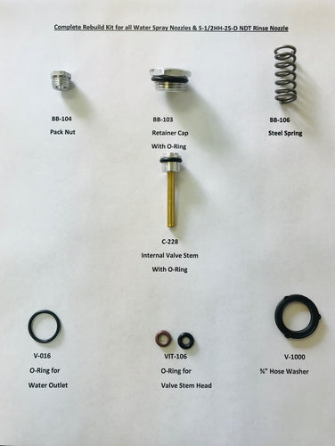 An image of the parts included in this Tri-Con water spray nozzle rebuild kit
