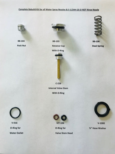 Complete Rebuild Kit for all Water Spray Nozzles & S-1/2HH-25-D NDT Rinse Nozzle