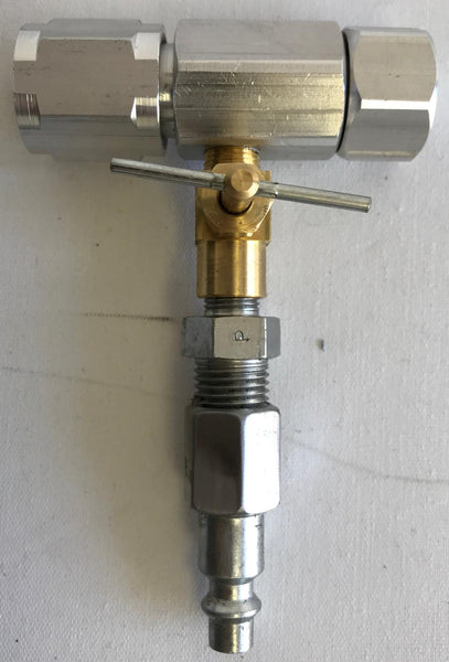 an image of a Tri-Con pressure booster head with a quick connect coupler attached.