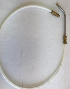 An image of An Image of a spray nozzle wand with a 360-degree tip with brass connectors connecting it to a white plastic nylon flex tube.