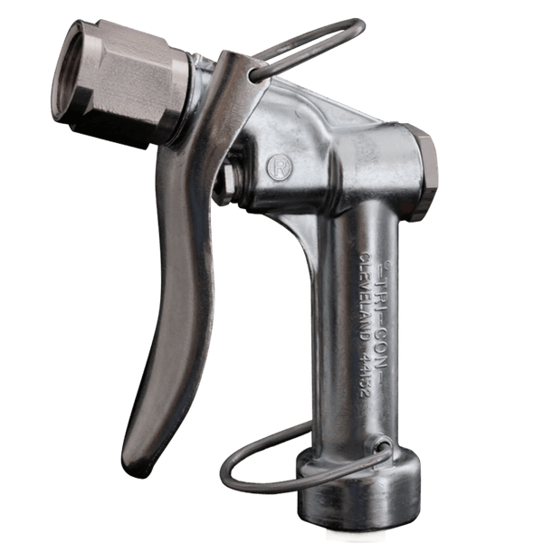 An image of a Tri-Con garden hose sprayer with a reversible nozzle attached.