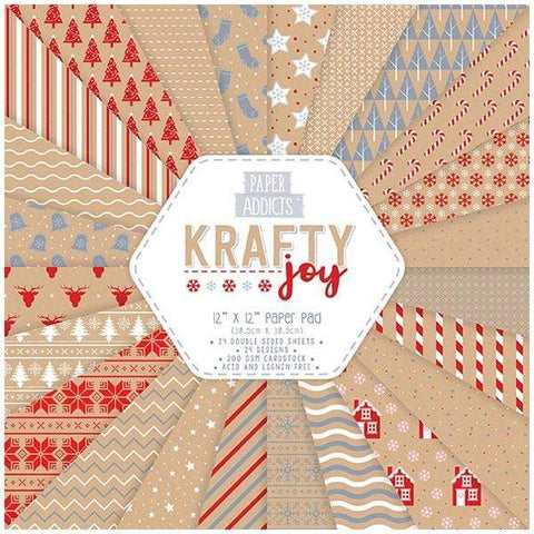 PAPER ADDICTS PAPER PAD CHRISTMAS KRAFTY JOY 12IN X 12IN - 24 SHEETS