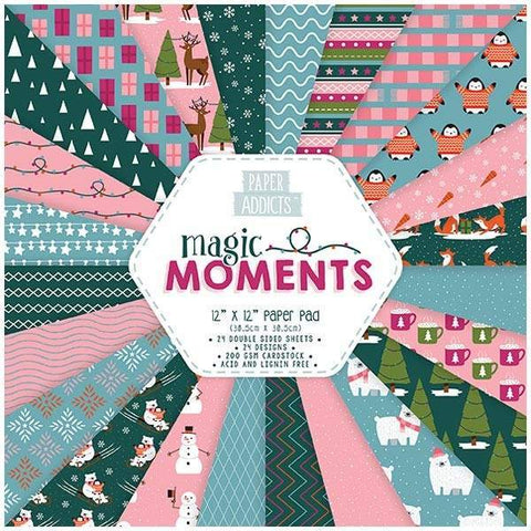 PAPER ADDICTS PAPER PAD CHRISTMAS MAGIC MOMENTS 12IN X 12IN - 24 SHEETS