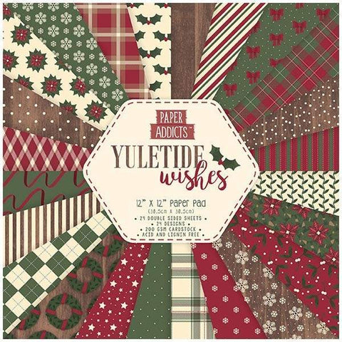 PAPER ADDICTS PAPER PAD CHRISTMAS YULETIDE WISHES 12IN X 12IN - 24 SHEETS