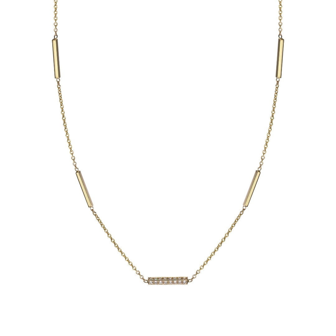 diamond grande line necklace in 14k yellow gold