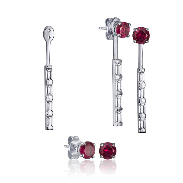Lafia Matchstick Baguette 4 Diamond ear jacket collection with Ruby stud in 14 karat gold