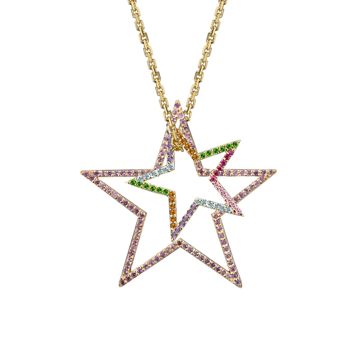 Star charm large Amethyst and Star charm small in rainbow in yellow gold on oval link chain, or blue topaz, citrine, emerald, pink sapphire, ruby, rainbow or black diamonds