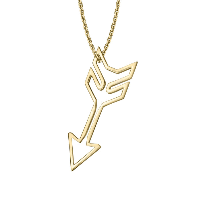 lafia charm collection large arrow necklace on oval channel chain set in 14k yellow gold
