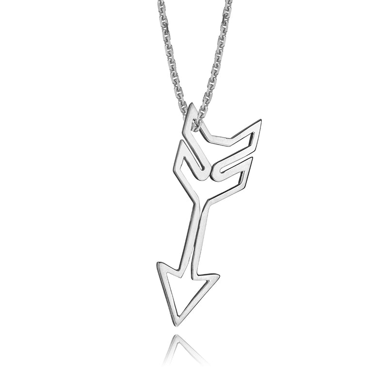 lafia charm collection small arrow necklace on oval channel chain set in 14k white gold