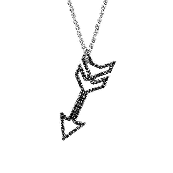 Arrow Charm (small) with black diamonds in white gold on oval link chain, amethyst, blue topaz, citrine, emerald, pink sapphire, ruby or rainbow