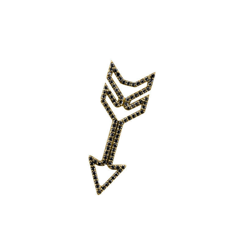 Arrow Charm (small) with black diamonds in yellow gold, amethyst, blue topaz, citrine, emerald, pink sapphire, ruby or rainbow