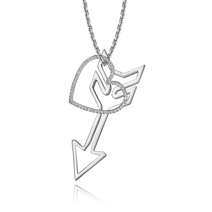 lafia charm collection large arrow charm and small diamond heart charm on oval channel chain all in 14k white gold