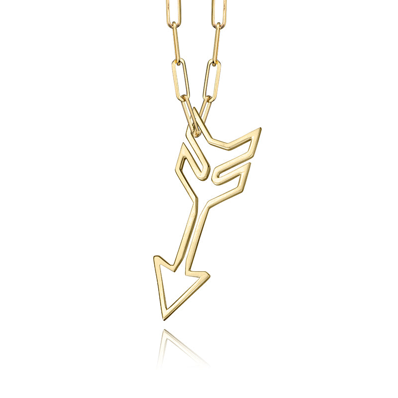 lafia charm collection large arrow necklace on medium paper clip chain yellow 14k gold