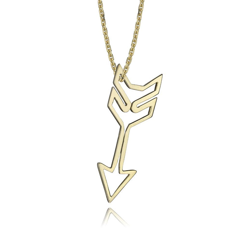 lafia charm collection small arrow necklace on oval channel chain set in yellow 14k gold