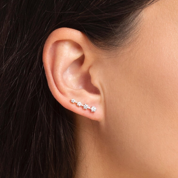 lafia goddess diamond 4 star ear climber white gold