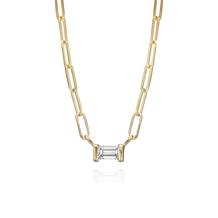 DIAMOND BAGUETTE PAPERCLIP NECKLACE