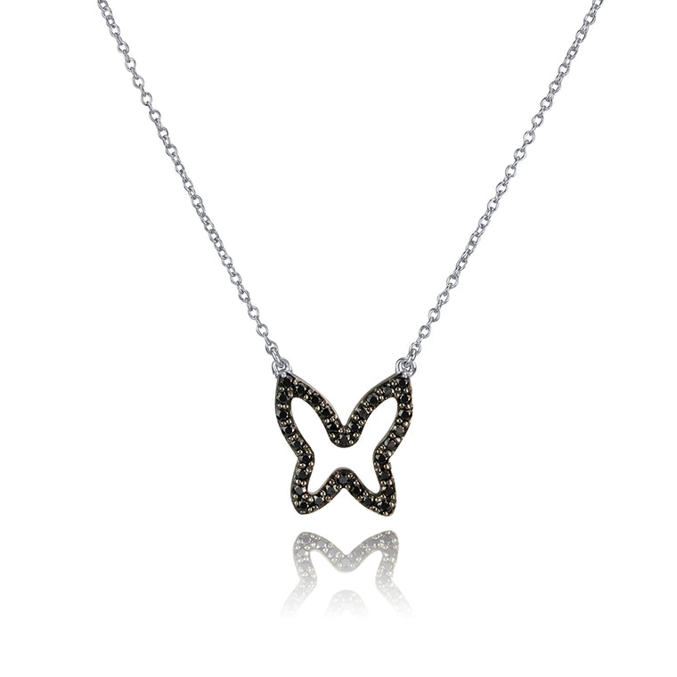 BLACK DIAMOND OPEN BUTTERFLY NECKLACE