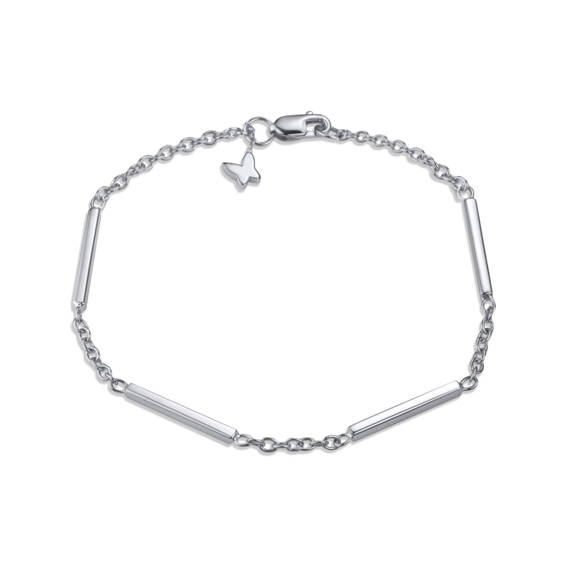 Large line bracelet on medium rolo chain in 14k white gold signature Lafia lobster clasp