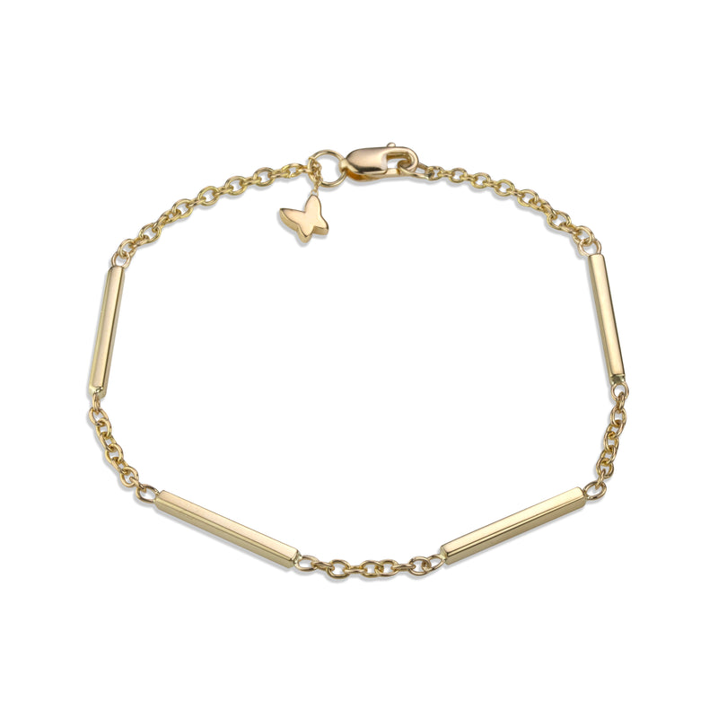 Large line necklace on medium rolo chain in 14k yellow gold signature Lafia lobster clasp