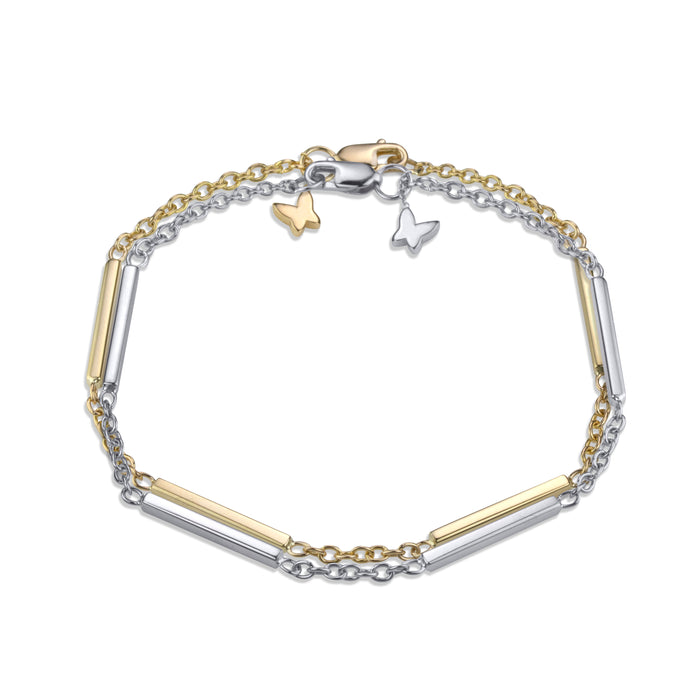 Layered large line bracelet on medium rolo chain in 14k white and yellow gold signature Lafia lobster clasp