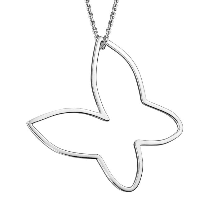 lafia charm collection large butterfly necklace on oval channel chain set in 14k white gold
