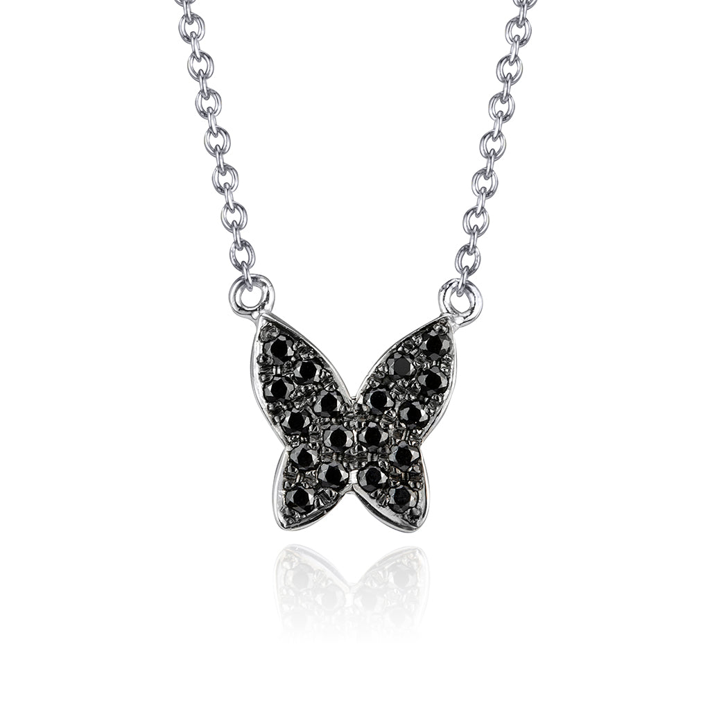 lafia collection black diamond butterfly necklace 14 karat white gold