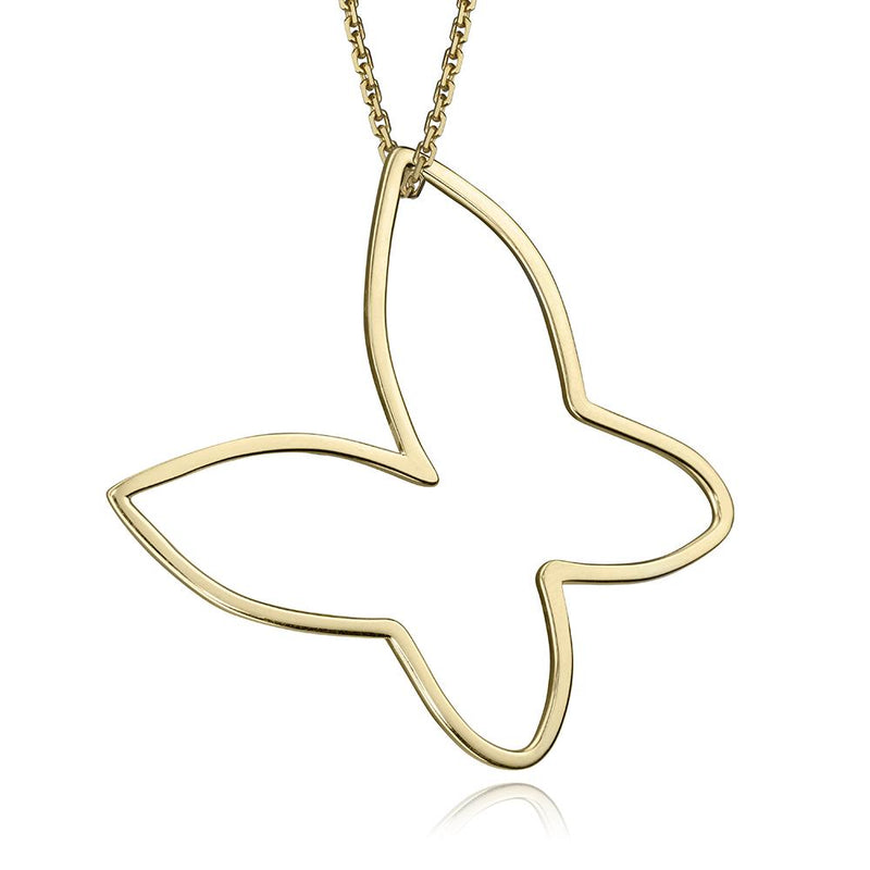 lafia charm collection large butterfly necklace on oval channel chain set in yellow 14k gold