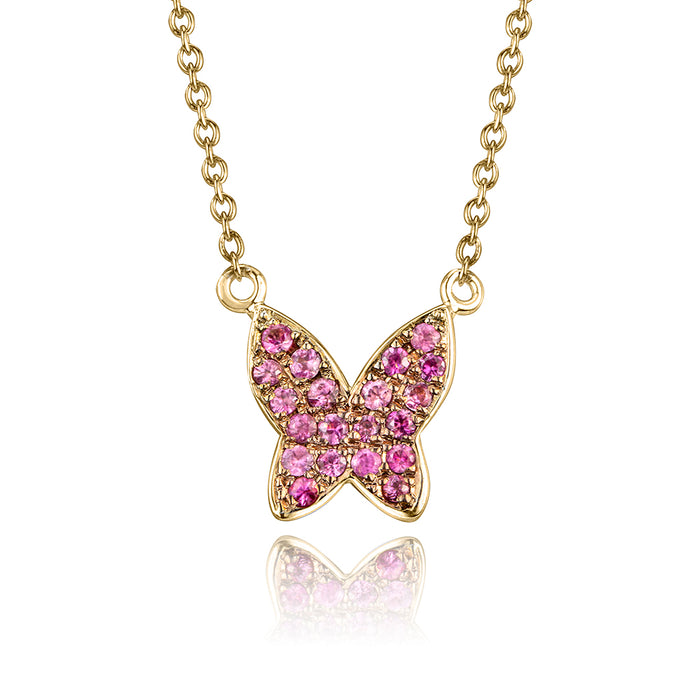 lafia collection pink sapphire butterfly necklace 14k yellow gold