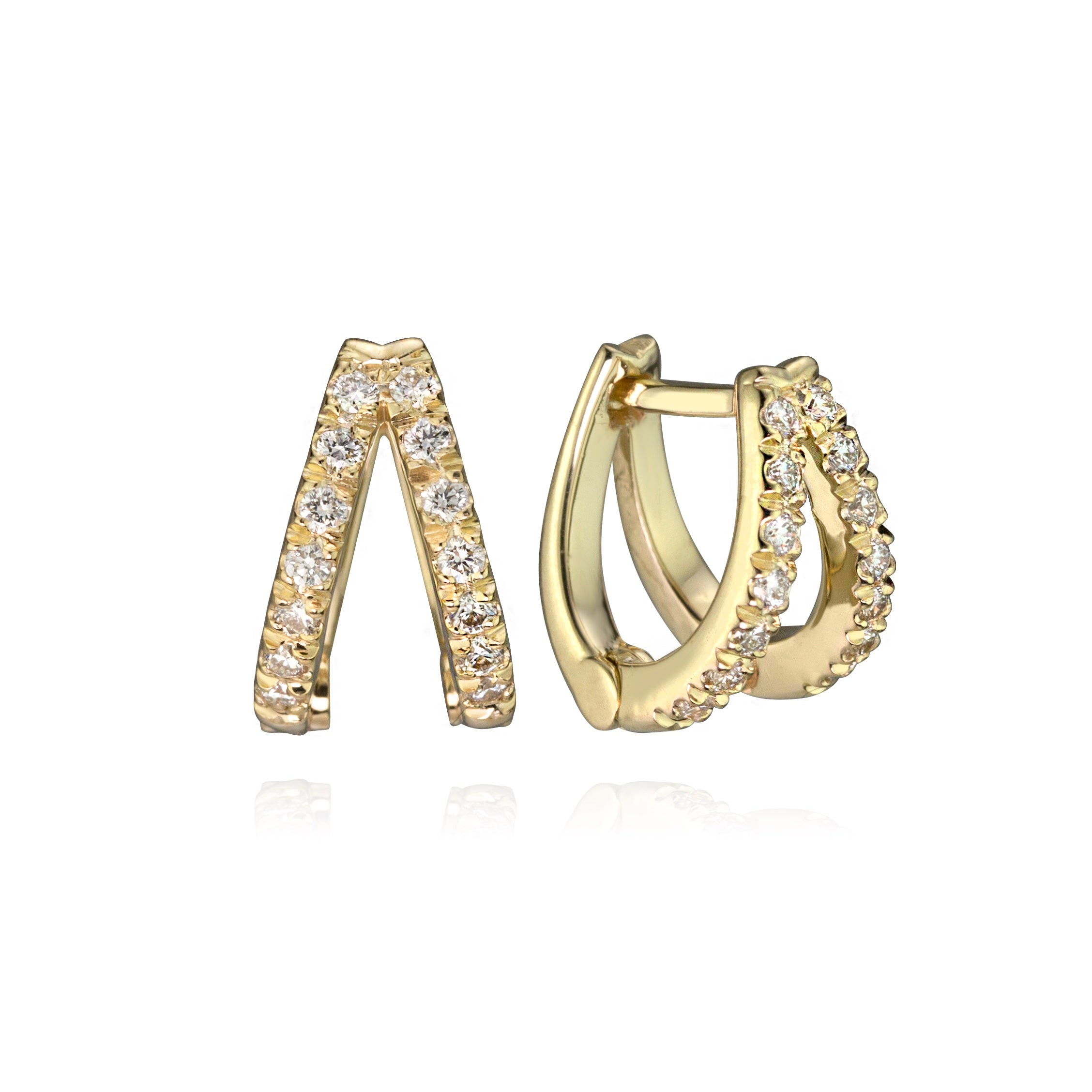 Diamond double huggies in 14k yellow gold, showing closure