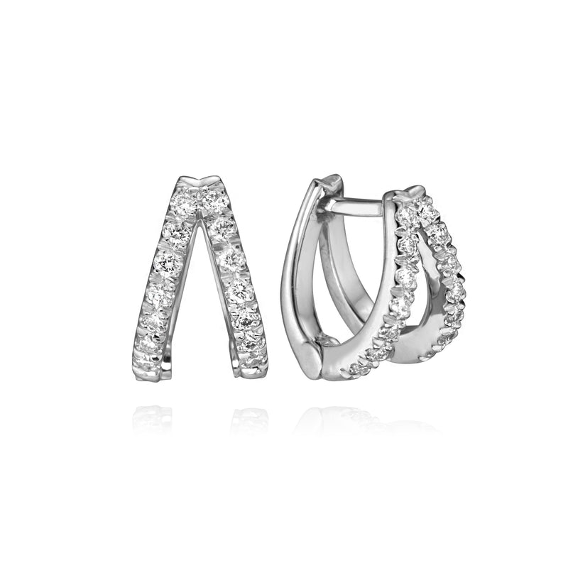 Diamond double huggies in 14k white gold, showing closure