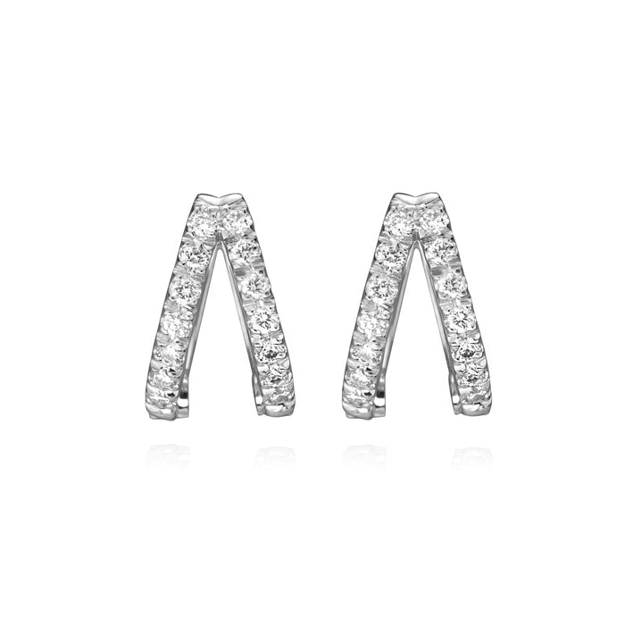 Diamond double huggies in 14k white gold, face on