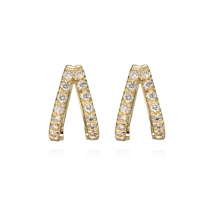 Diamond double huggies in 14k yellow gold, face on