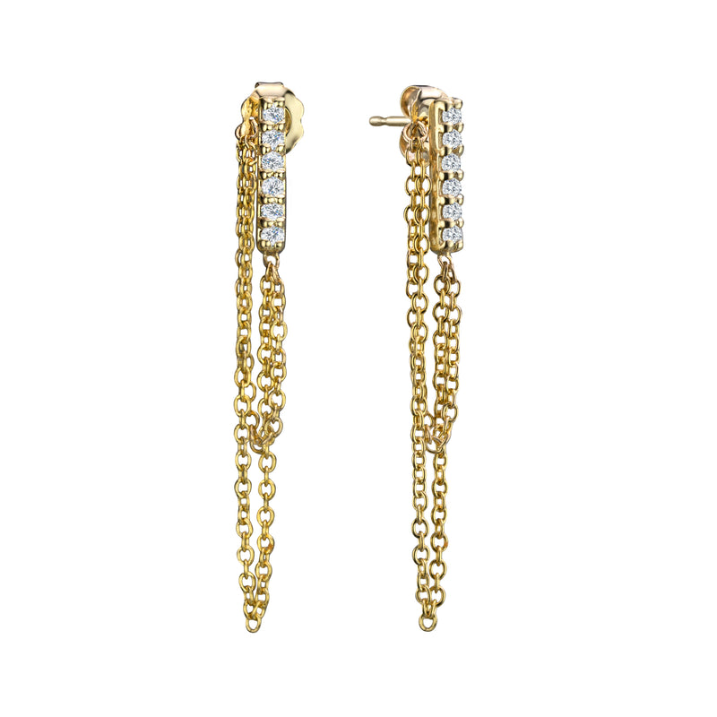Diamond line earrings with chain in 14k yellow gold, diamonds 12pts