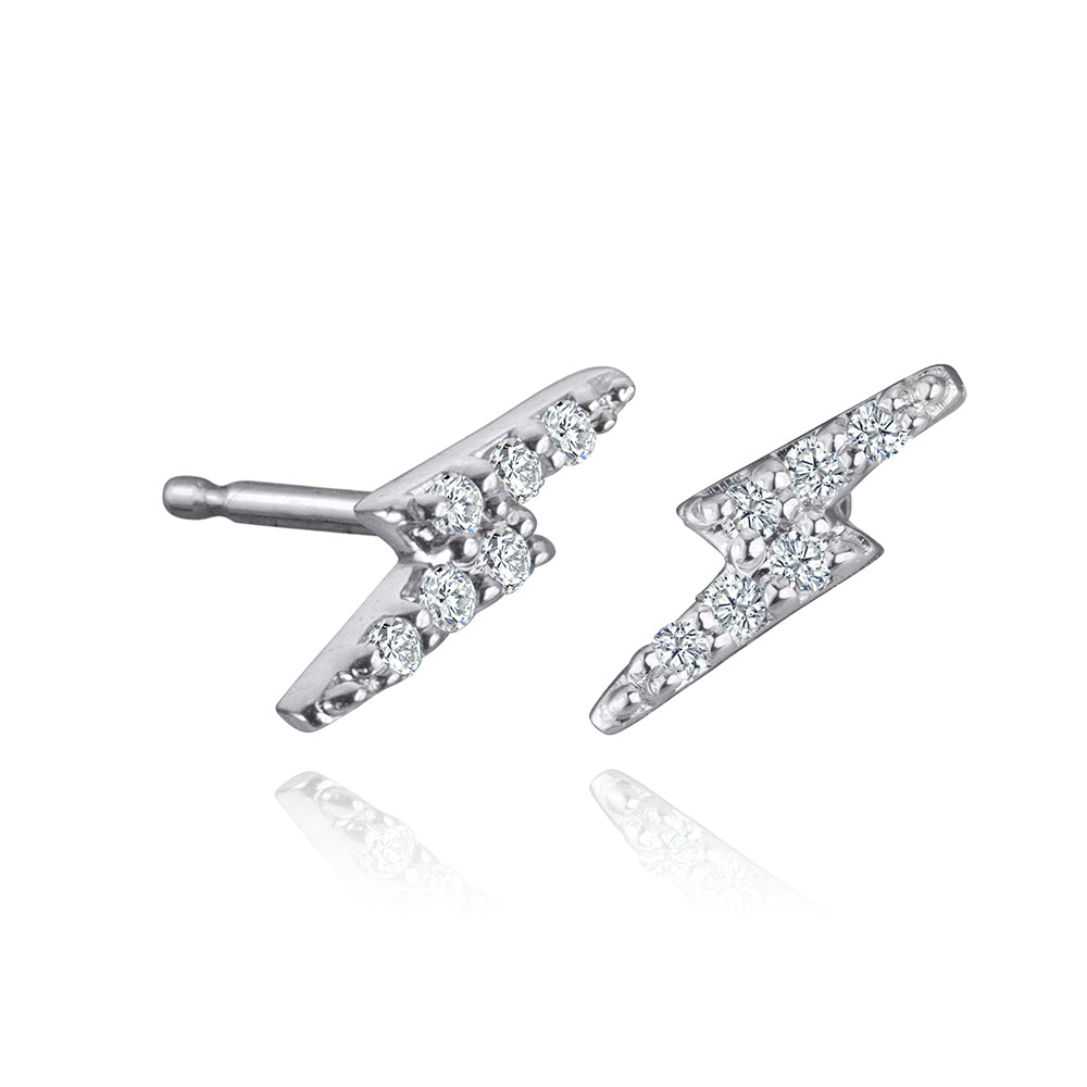 lafia mini stud collection diamond lightning stud white gold