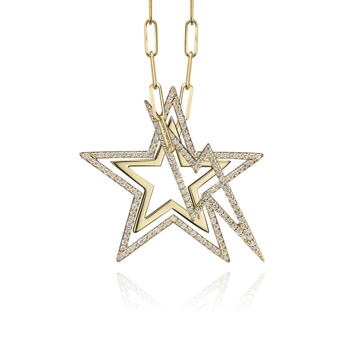 lafia charm collection large diamond star charm and small star charm necklace with small diamond lightning  charm on paper clip chain set in yellow 14k gold