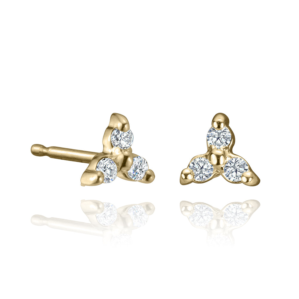 lafia mini stud collection diamond trio stud yellow gold