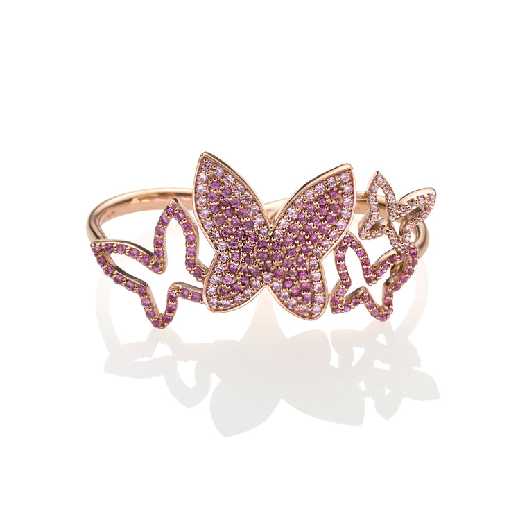PINK BUTTERFLY DOUBLE RING