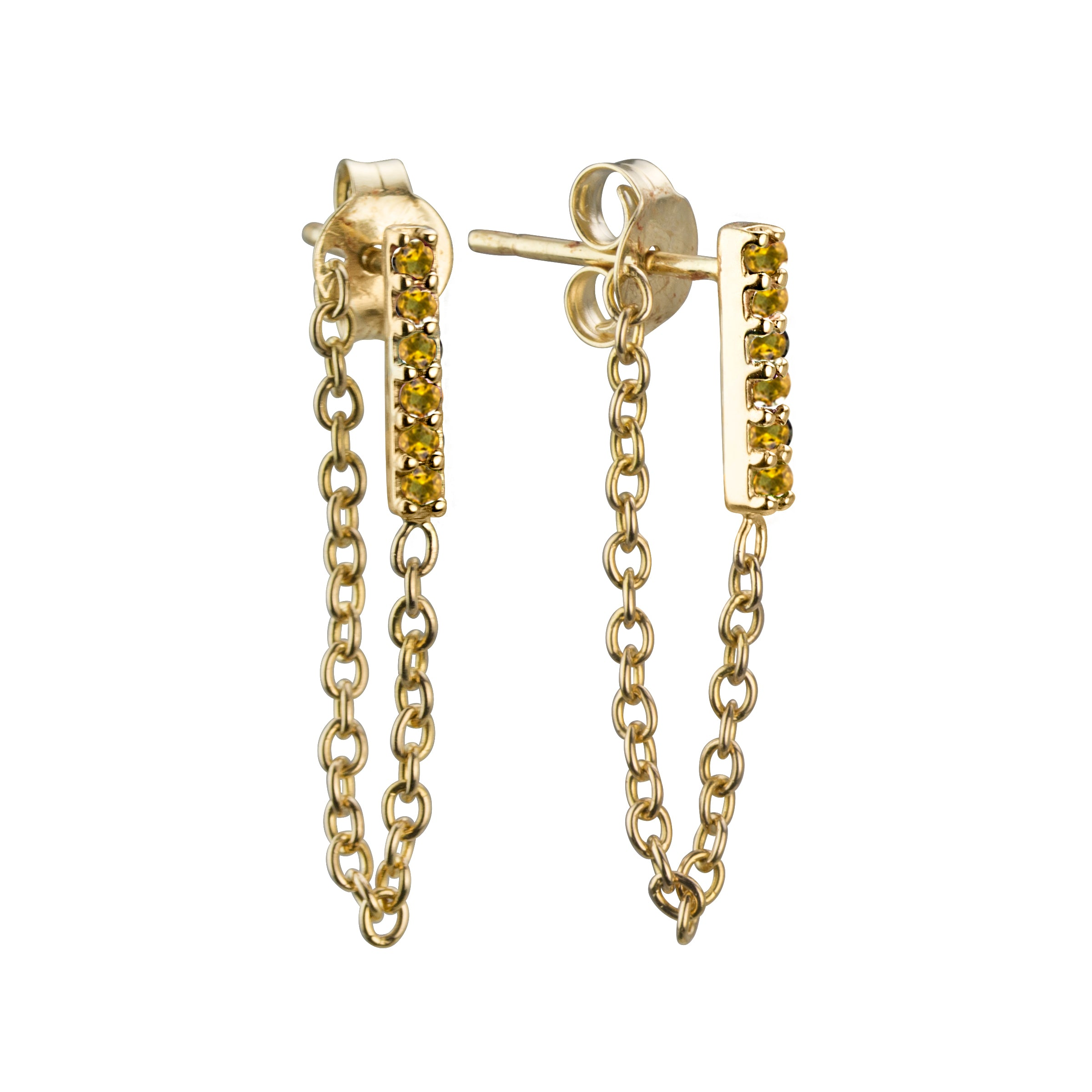 Semi-precious Citrine stone line earrings with chain in 14k yellow gold