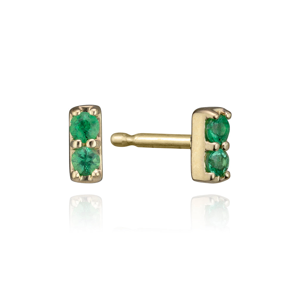 lafia mini stud collection emerald bar stud yellow gold
